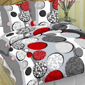 Obliečky bavlnené Kruhy červené TiaHome