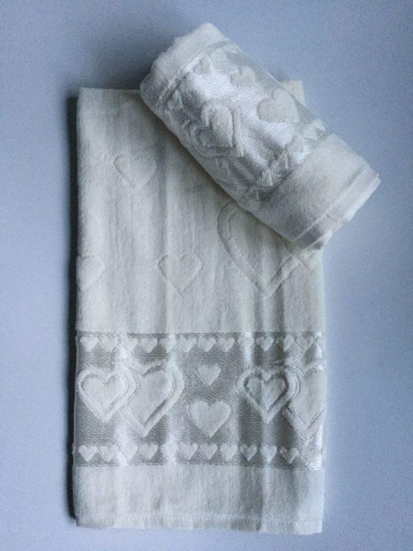 Žakárový froté ručník máslově bílá TiaHome