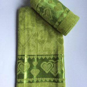Žakárový froté ručník tmavě zelený TiaHome