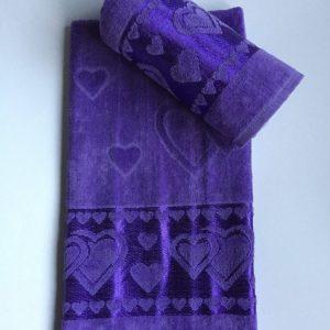 Žakárový froté ručník tmavě fialový TiaHome