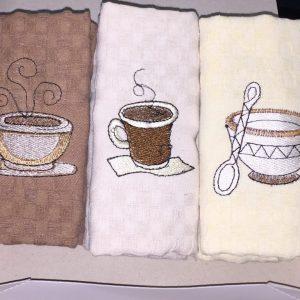 Utěrky na nádobí vaflové káva 3ks TiaHome