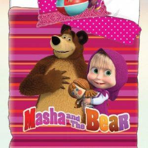 Povlečení Disney Máša a Medvěd růžová 140x200cm + 90×70 cm